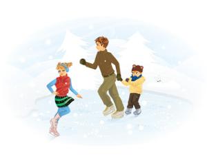 dzieci na łyżwach
